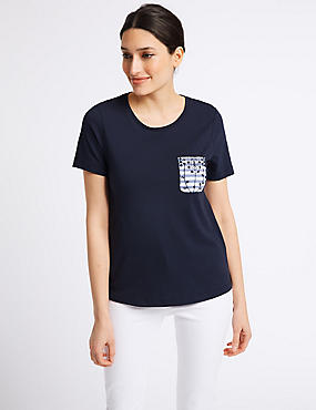 Pure Cotton Broderie Back T-Shirt