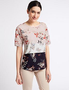 Floral Foil Print Woven Front T-Shirt