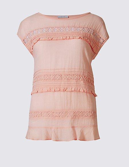 Cotton Blend Frilled Short Sleeve T-Shirt