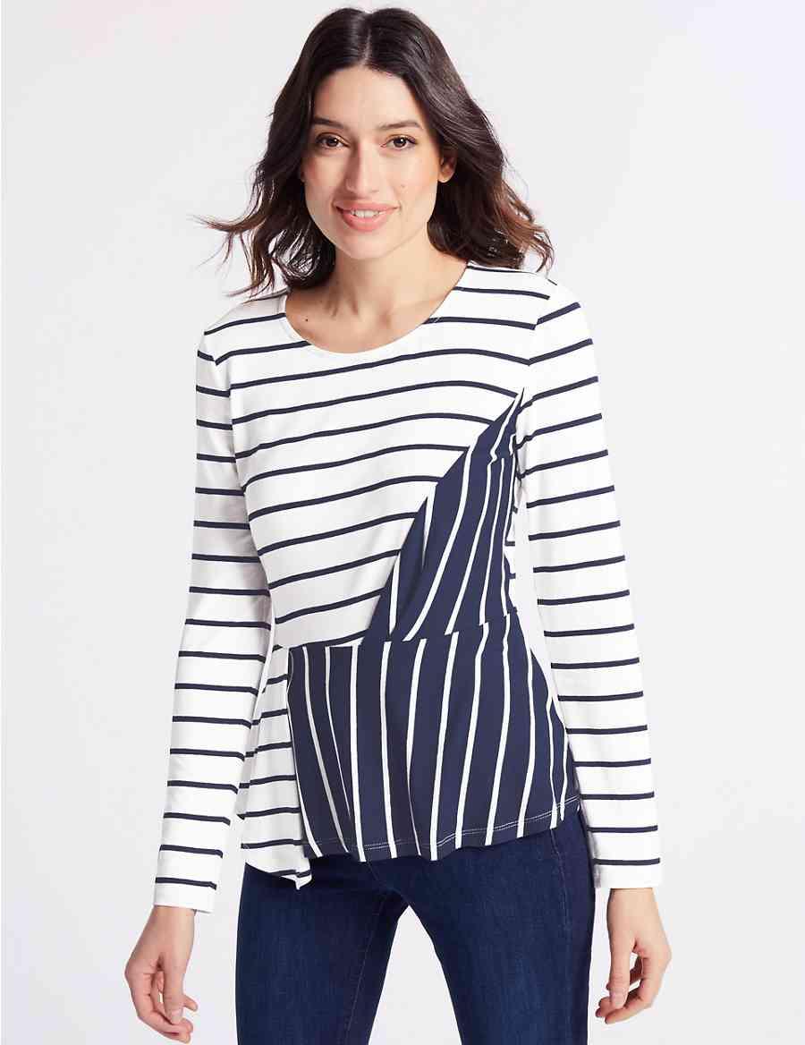 ad4c7268e Contrast Striped Long Sleeve T-Shirt | Per Una | M&S