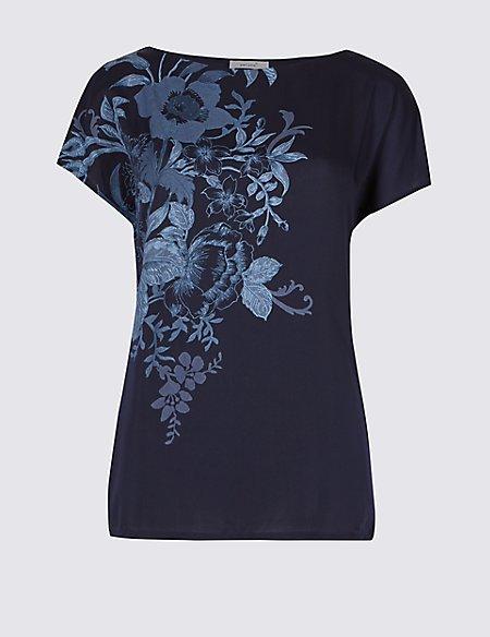 Floral Print Satin Front T-Shirt