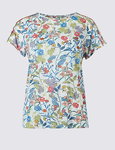 Floral Print Piping Detail T-Shirt