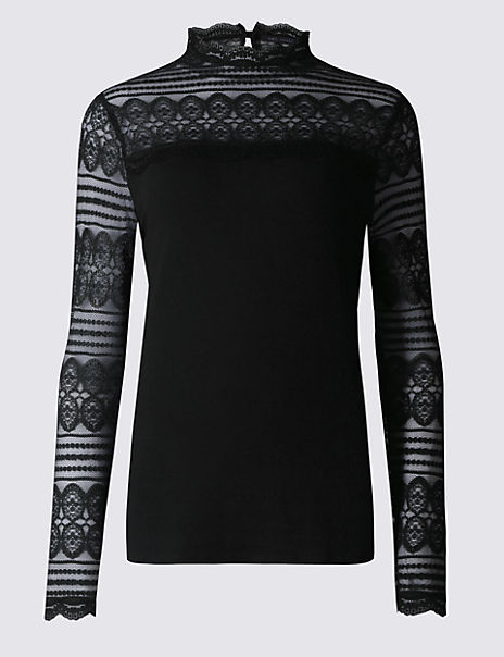 Lace Funnel Neck Long Sleeve Jersey Top