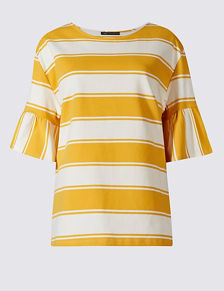 Cotton Rich Striped Flared Sleeve T-Shirt