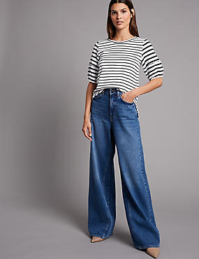 Striped Round Neck Half Sleeve Top