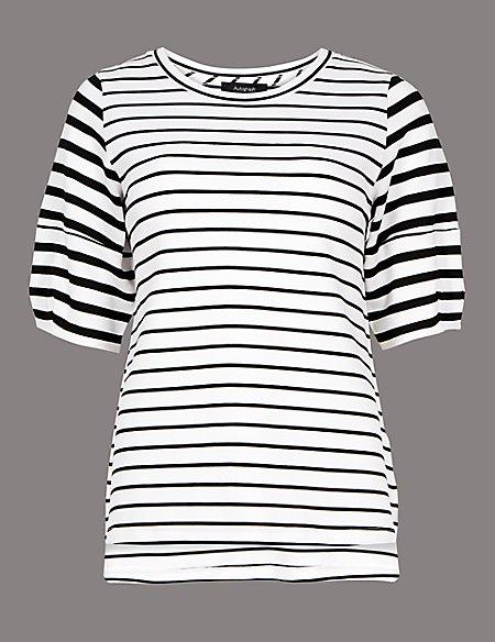 Striped Round Neck Half Sleeve Top