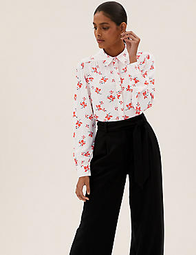 Printed Collared Longline Shirt