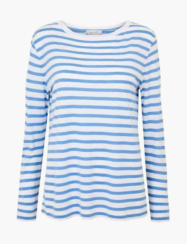 eeb6055272e Striped Long Sleeve T-Shirt with Linen