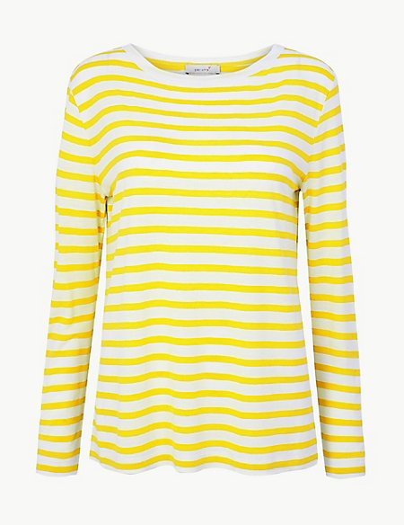df25eae1a4 Striped Round Neck Long Sleeve T-Shirt