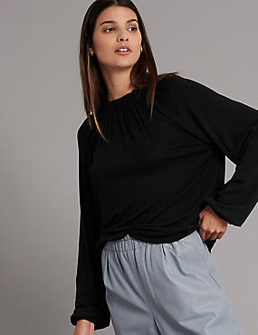 Ruched Neck Long Sleeve Top