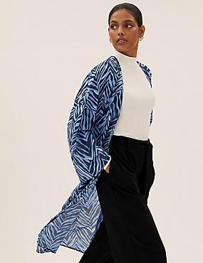 Cotton Printed Relaxed Longline Kimono
