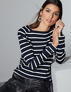 Striped Square Neck Long Sleeve Top