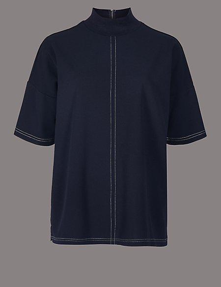 Funnel Neck Half Sleeve Top