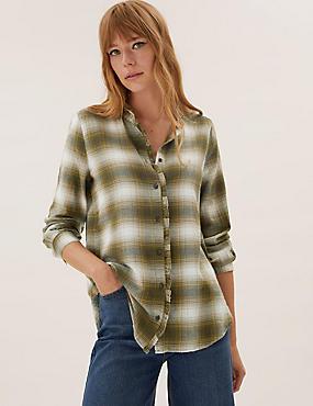 חולצת משבצות בגזרה ארוכה מכותנה עם עיטורים מסולסלים