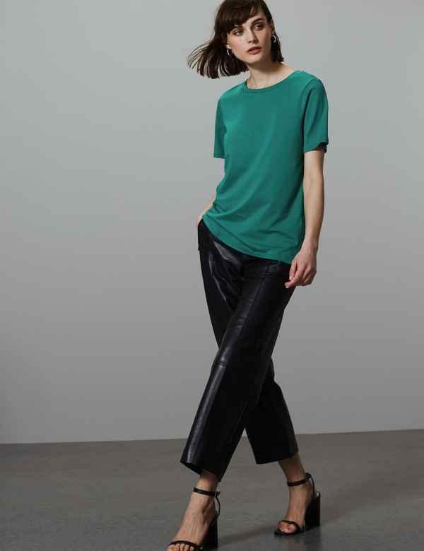 741cf6bab224e Pure Cotton Round Neck Short Sleeve T-Shirt