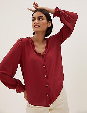 V-Neck Frill Detail Long Sleeve Blouse