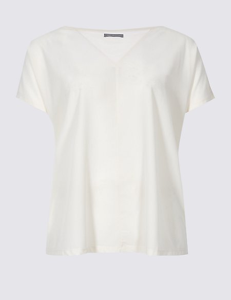 CURVE Woven Front Short Sleeve T-Shirt