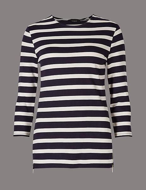 Striped Round Neck 3/4 Sleeve T-Shirt