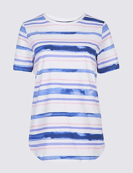 Pure Cotton Striped Short Sleeve T-Shirt
