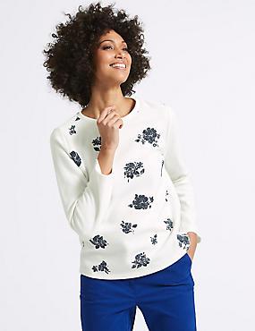 Cotton Blend Floral Print Sweatshirt