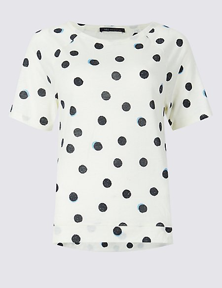 Spotted Raglan Round Neck Short Sleeve Top