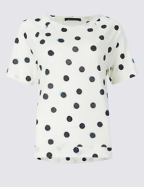 Spotted Raglan Round Neck Short Sleeve Top