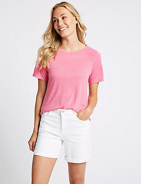 Textured Round Neck Short Sleeve Top