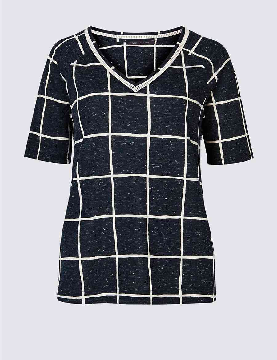 538b0210 Checked Raglan V-Neck Short Sleeve Top | M&S Collection | M&S