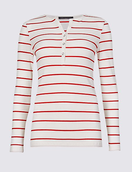 Cotton Blend Striped Long Sleeve Top