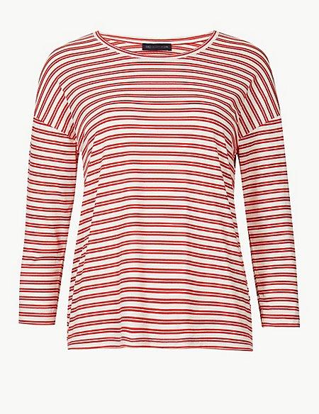 PETITE Striped Round Neck T-Shirt