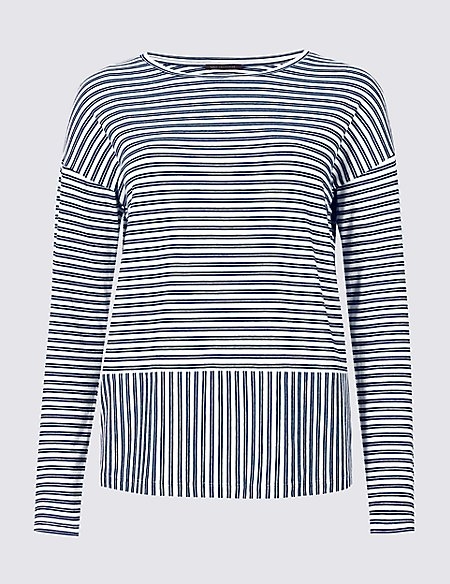 Striped Loose Fit Long Sleeve T-Shirt