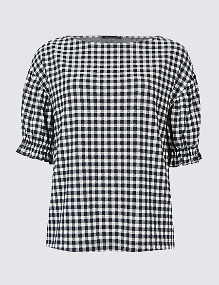 Gingham Ruched Sleeve Top