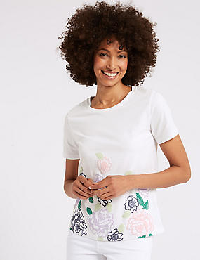 Pure Cotton Floral Print T-Shirt