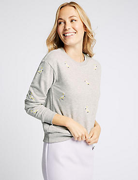 Cotton Blend Embroidered Sweatshirt