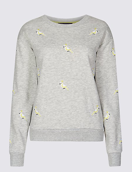 Cotton Blend Embroidered Sweatshirt