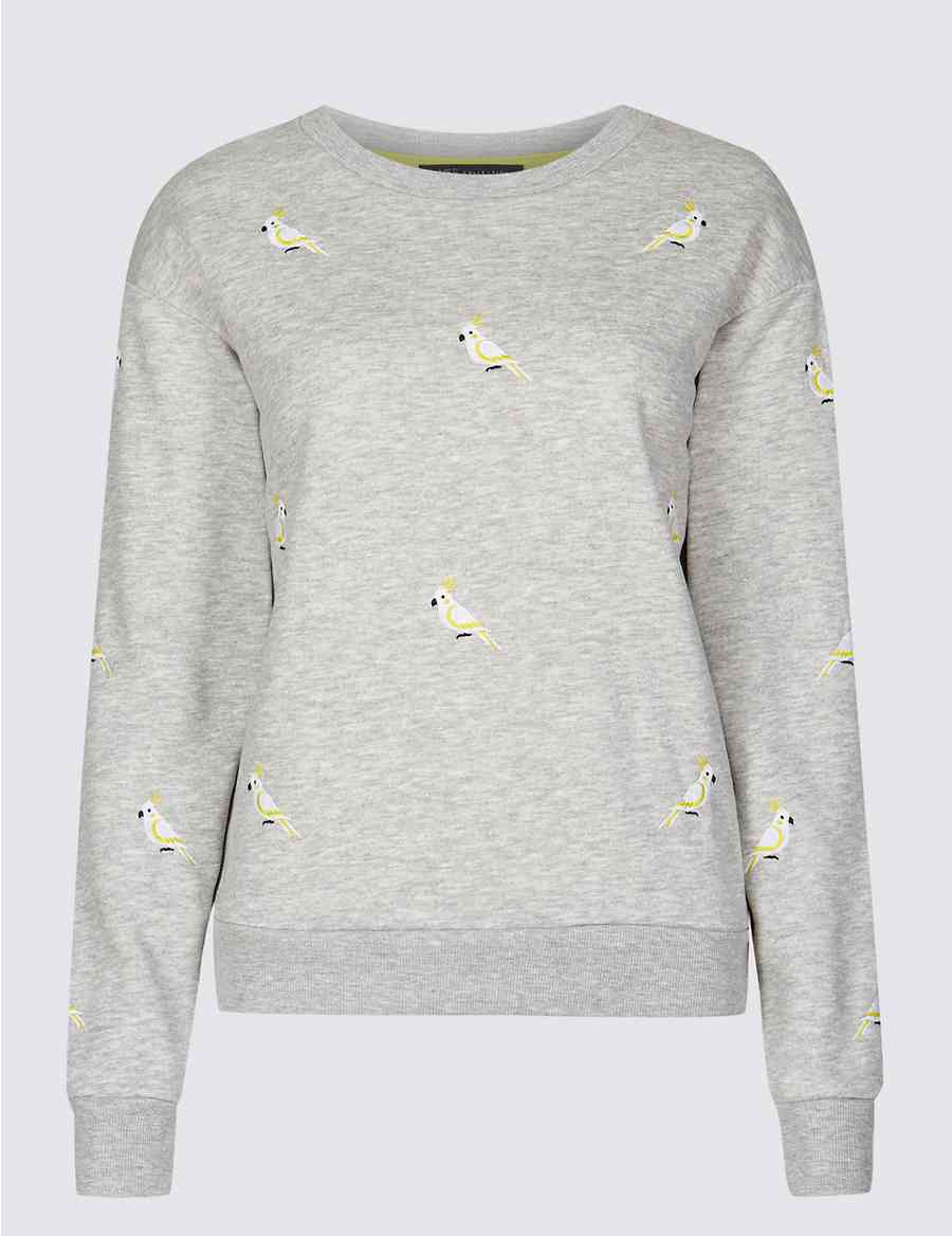 Cotton Blend Embroidered Sweatshirt   M&S Collection   M&S