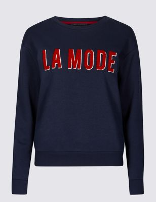 Cotton Rich Embroidered Sweatshirt by Marks & Spencer