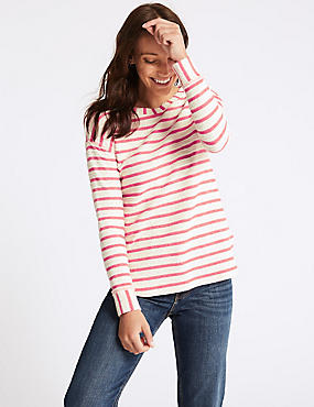 Cotton Rich Striped Long Sleeve Top, RED MIX, catlanding