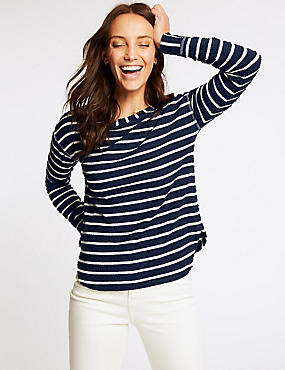 Cotton Rich Striped Long Sleeve Top