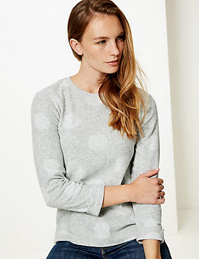 Spotted Round Neck Long Sleeve Sweatshirt, GREY MIX, catlanding