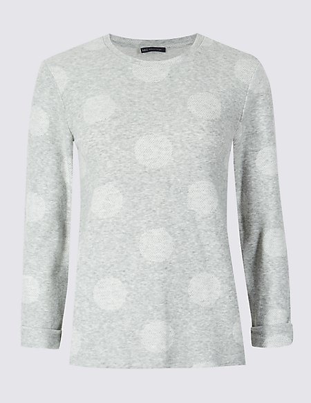 Spotted Round Neck Long Sleeve Top