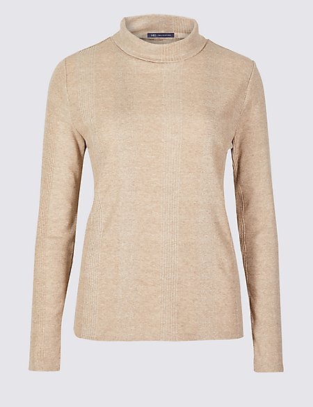 Textured Polo Neck Long Sleeve Top
