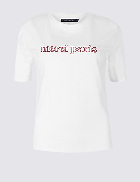 Pure Cotton Embroidered Short Sleeve T-Shirt