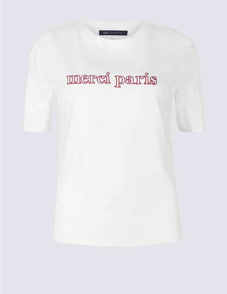Pure Cotton Embroidered Short Sleeve T-Shirt  d803027c78
