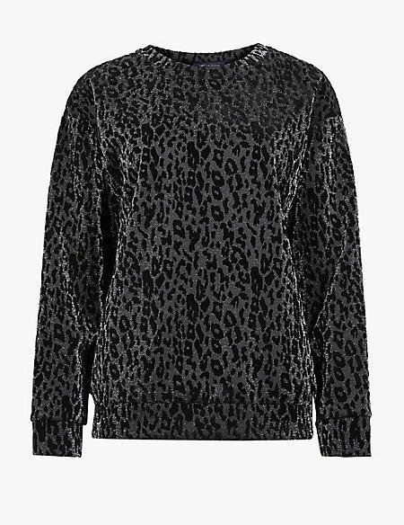 Sparkly Animal Print Round Neck Sweatshirt