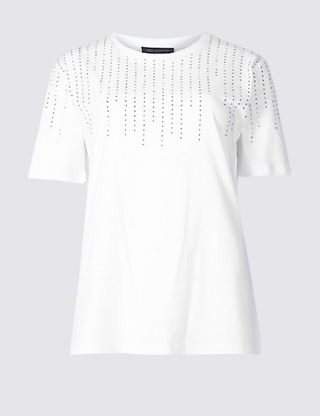 Pure Cotton Round Neck Short Sleeve Top
