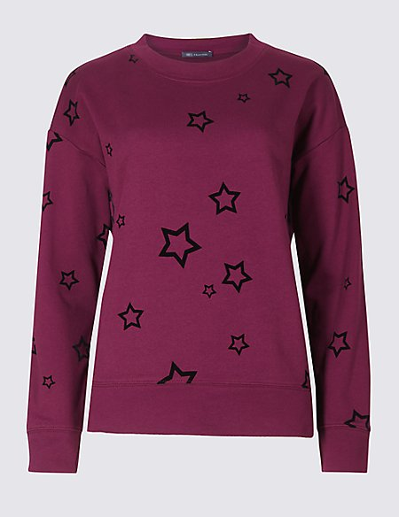 Pure Cotton Star Print Sweatshirt
