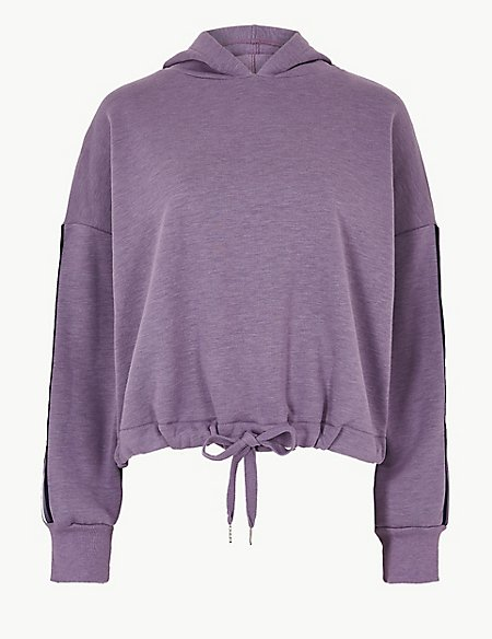 Cotton Blend Long Sleeve Cropped Sweatshirt