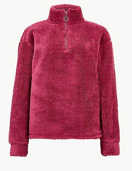 Textured Borg Zip-Up Hooded Sweatshirt