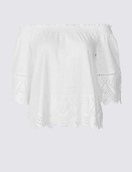 PETITE Pure Cotton Embroidered Bardot Top